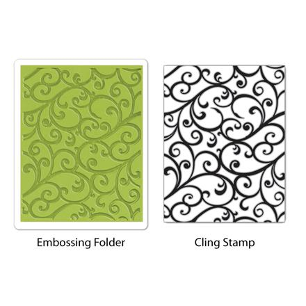 FOLDER DO EMBOSSINGU + STEMPEL - TEXTURED IMPRESSIONS - FLOURISH SET